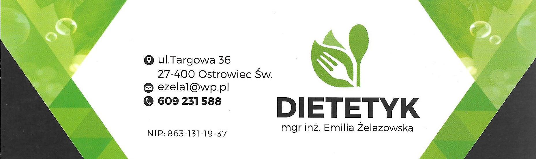 Reklama Dietetyk mgr inż. Emilia Żelazowska
